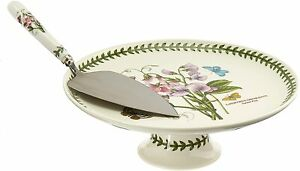 Portmeirion Botanic Garden Footed Cake Plate with Server, 10 Inch - White