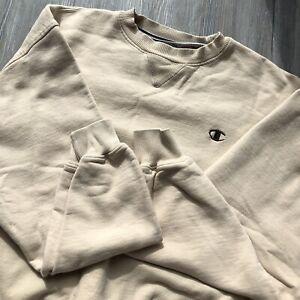 Vintage Champion Sweatshirt Crewneck Men's Large Cream Beige Embroidered Logo C
