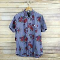 CPO PROVISIONS Men's Short Sleeve Button Front Floral Print M Medium Blue