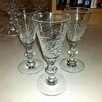"""VINTAGE T.G. HAWKES #7330 """"PUSSY WILLOW"""" - THREE 4 7/8"""" SHERRY GLASSES"""