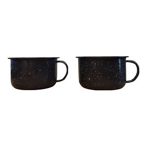 Retro Black Speckled Enamel Metal Mugs Set of 2 Camping Cup 10 Ounce