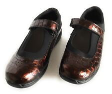 Drew Womens Shoes ROSE 7.5 W Brown Patent Croc Mary Jane Diabetic Orthotic
