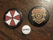 Resident Evil BADGE set, Raccoon Police Umbrella Capcom Buttons NEW Collectible