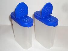 TUPPERWARE Modular Mates Spice Shakers 1 Cup Set of 2 Vtg  Brilliant Blue Seals