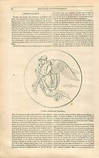 La nuit & Prince Poniatowski par Bertel Thorvaldsen GRAVURE ANTIQUE PRINT 1838