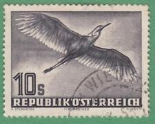 Austria #C59 used 10s Airmail Heron Bird 1953 cv $47.50