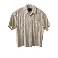 Jamaica Jaxx Button Up Shirt Mens 2XL XXL Beige Tan Hawaiian Silk Short Sleeve