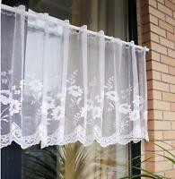 White flower Home decorate Kitchen Lace Sheer Curtain Cafe Curtain 160219013