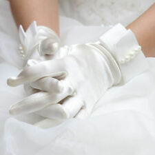 A Pair White Satin Pearls Bridal Full Short Elegant Wedding Evening Party Gloves