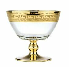 "Fruit Bowl Candy Ice Cream Dish 5"" - Greek Key 24K Gold Footed Center Piece Vase"