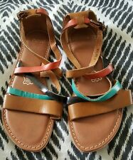 NOVO Rylee Brown Leather Strappy Flat Sandals Shoes Size 6