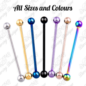 Industrial Scaffold Piercing Ball Barbell Ear Bar Surgical Steel Colour 16g 14g