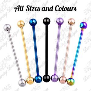 Industrial Scaffold Piercing Ball Barbell Ear Bar Surgical Steel Colour 16g 14g