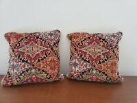 PAIR of Woolen 14x14 Red, Blue, Green Geometric Print Needlepoint Pillow