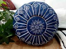 Leather blue dark Poufs, White Stitching Moroccan handmade Embroidery Footstool