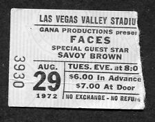 Original 1972 Rod Stewart Faces Savoy Brown Concert Ticket Stub Las Vegas