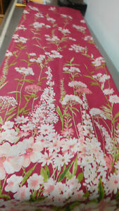 Vintage Deep Pink Shower Curtain with Flowers-So Pretty!