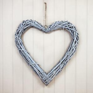Extra Large 60cm Grey Wash Rattan Wicker Hanging Heart Wreath
