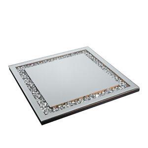 Spiegeltablett Kerzentablett Deko Spiegelplatte, Glitzersteinchen Tablett Strass