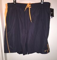 NIKE Men's Board Shorts GREY/ORANGE Size XXL Swim Beach Pool Trunk Summer NWT