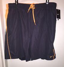 NIKE Men's Board Shorts GREY/ORANGE Size XXL Swim Beach Pool Trunk Summer NWT