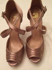 HEART in D Pink Satin with Rhinetones one strap Open Toe Stilettos Size 8 EUC