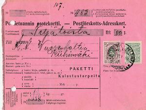 [4]  Paketkarte FINNLAND WK 1. Weltkrieg gest. 22.06.1915 (rar)