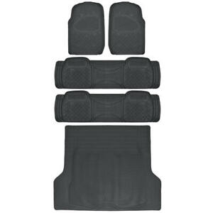 SUV Floor Mat for 3 Row Car All Weather Black Trimmable Semi Custom w/ Trunk Mat