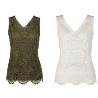NEW Ex DP Ladies Lace Front Vest Top Plus size Top Size 18 - 28 Khaki Ivory