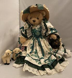 "1993 Bearly People 18"" Vintage Teddy Bear ""Rose"" w/ Hat, Lambs & Basket Lt Ed."