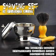 Barber Synthetic Brush & Safety Razor Luxury Home Salon & Travel Wet Shaver Kit