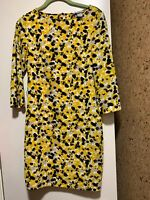 NWOT H&M Dress Woman's Yellow White Gray Black 3/4 Sleeve Size 2 Polyester Blend