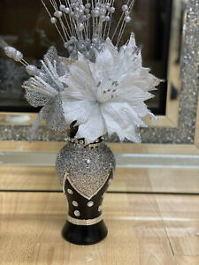 BLACK SILVER CRUSHED SILVER CRYSTAL PEARL VASE WITH FLOWERS ROMANY VASE