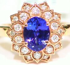 3.17CT 14K Gold Natural Tanzanite White Diamond Vintage Jewelry Engagement Ring