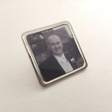 Personalised Silver Square Photo Brooch Badge, Tie Pin Clip Gift Wedding Funeral