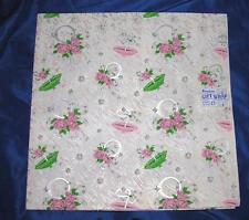 2 UNUSED SHEETS VTG GIFT WRAP, WRAPPING PAPER, 1940S DENNISON WEDDING SHOWER iop