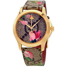 Gucci G-Timeless Pink Blooms Print Dial Ladies Watch YA1264038