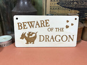 BEWARE OF THE DRAGON SIGN wooden hanger house plaque fab fairytale wood gift
