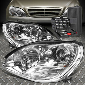 FOR 00-06 MERCEDES-BENZ S-CLASS W220 CHROME PROJECTOR HEADLIGHT LAMPS+TOOL SET