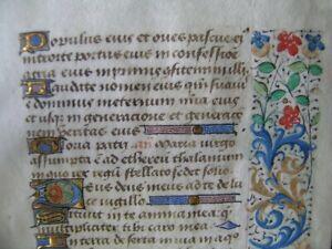 Antique parchment gothic page manuscript 15th century (bastarda type)