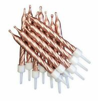 12 Metallic Rose Gold Candles Childrens Birthday Cake Party Favour Decoration