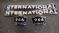 INTERNATIONAL FARMALL 966 DECALS. BLACK & CHROME. HOOD AND NUMBERS. C-DETAILS