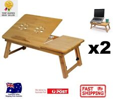 2x Portable Deluxe Bamboo Laptop Bed Desk Table Fold Workstation Tray Lap Fold
