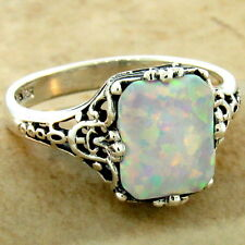 925 STERLING SILVER ANTIQUE FILIGREE STYLE LAB OPAL RING SIZE 5,           #1022
