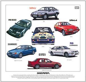 FORD SIERRA - Fine Art Print - RS Cosworth XR4x4 XR4i RS500 Sapphire illustrated
