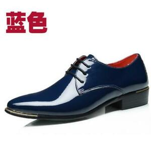 Mens Patent Leather Pointed toe Lace up Formal Party Dress Outdoor Oxfords Shoes