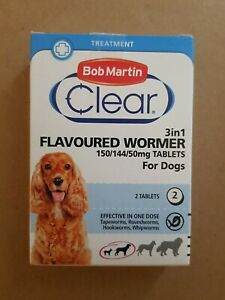 Bob Martin clear clear Flavoured wormer  3in1 2 tablets  for dogs