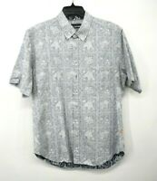 Reyn Spooner Mens Light Gray Hawaiian Print Short Sleeve Shirt Button Front L
