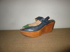 FRYE Blue & Green Leather Blair Slingback Wood Platform Wedge Heel Sandals 7.5