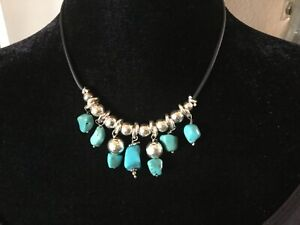 Delia Gonzalez Signed Turquoise Sterling Silver 925 Necklace on Leather Cord